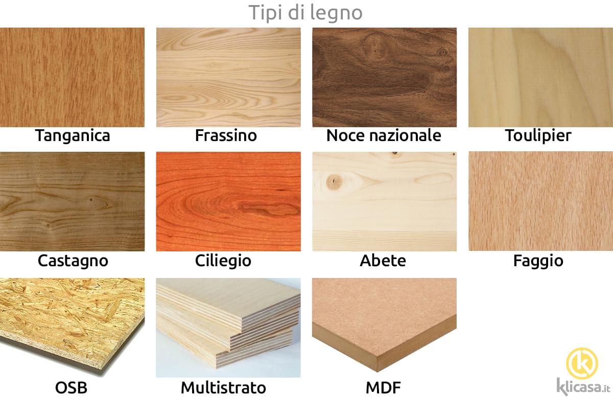 tipi di legno per cucine