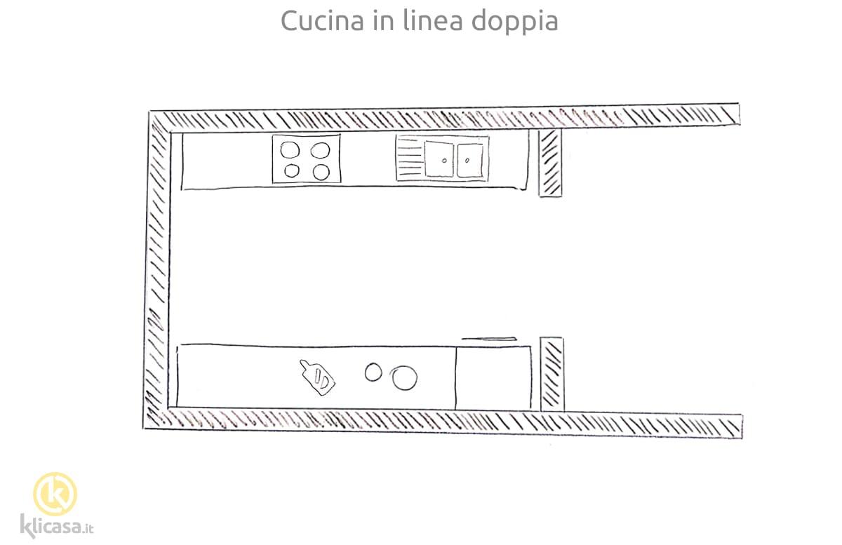 progetto cucina in linea doppia